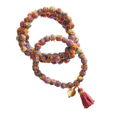Mosaic Brushed Sari Triple-Strand Bracelet