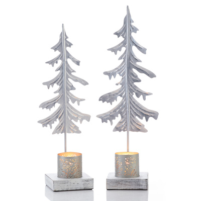 Silver Pine Candle Stands