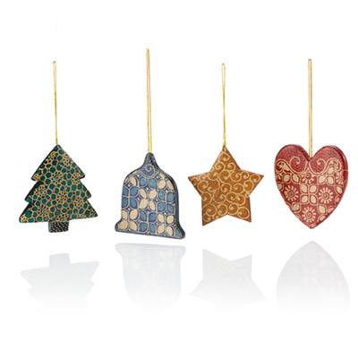 Batik Christmas Cookie Ornaments - Set of 4