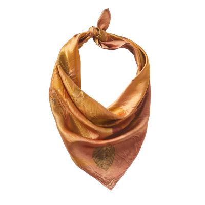 Blush Pressed Leaf Silk Bandana