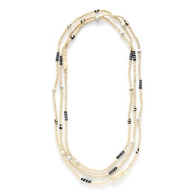 African Batik Long Natural Necklace
