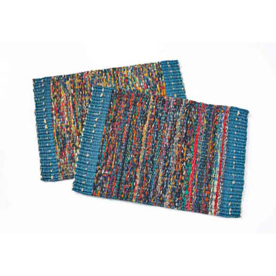 Teal Sari Placemats - Set of 2