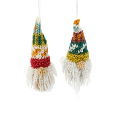 Knitted Gnomes Ornaments - Set of 2