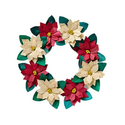 Corn Husk Poinsettia Wreath