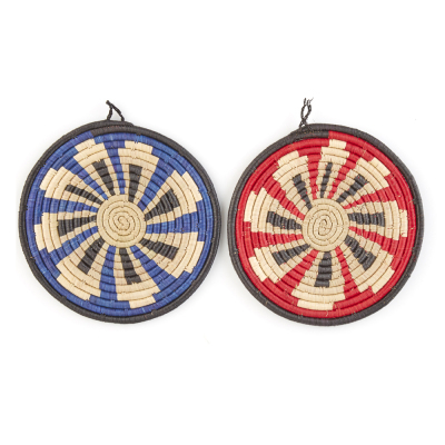 Red & Blue Okabala Trivets  - Set of 2
