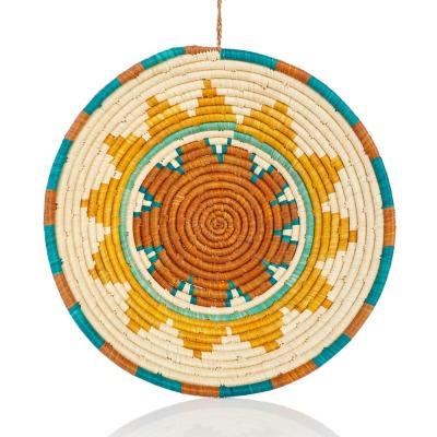 Turaco Feather Teal Raffia Basket