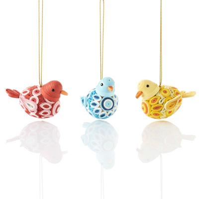 Quilled Round Bird Ornaments - Set of 3