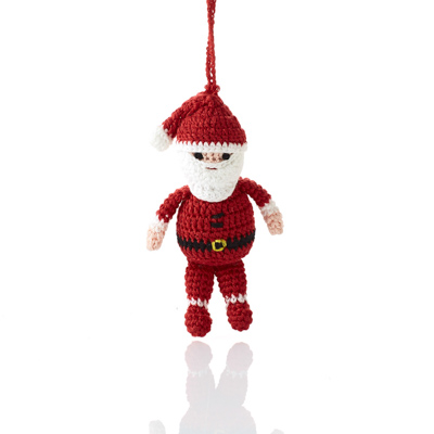 Crocheted Jolly Santa Ornament