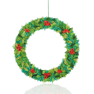 Quilled Paper Holly Wreath