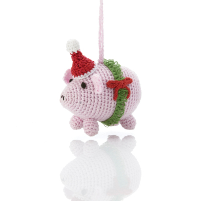 Barnyard Christmas Pig Ornament