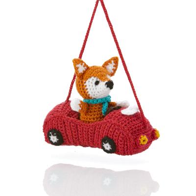 Racecar Fox Crocheted Ornament