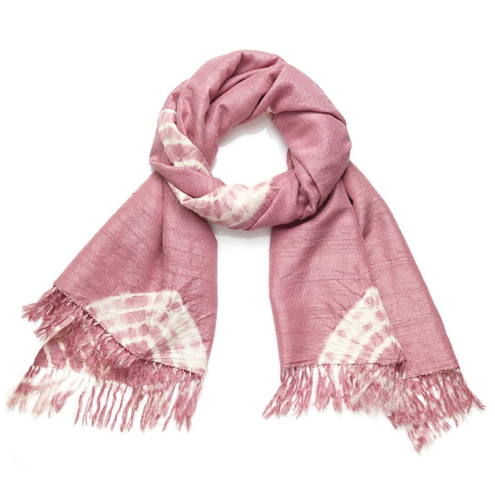Rosy Raw Silk Scarf