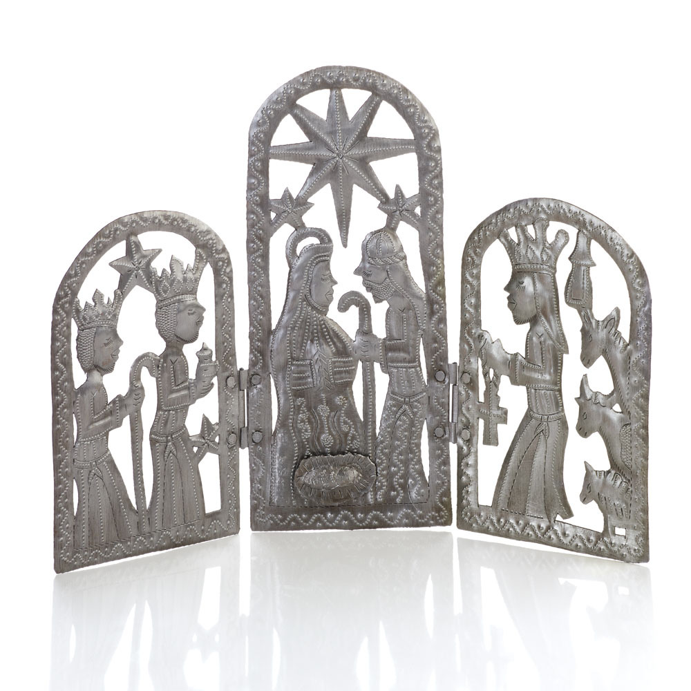 Recycled Metal Trifold Nativity