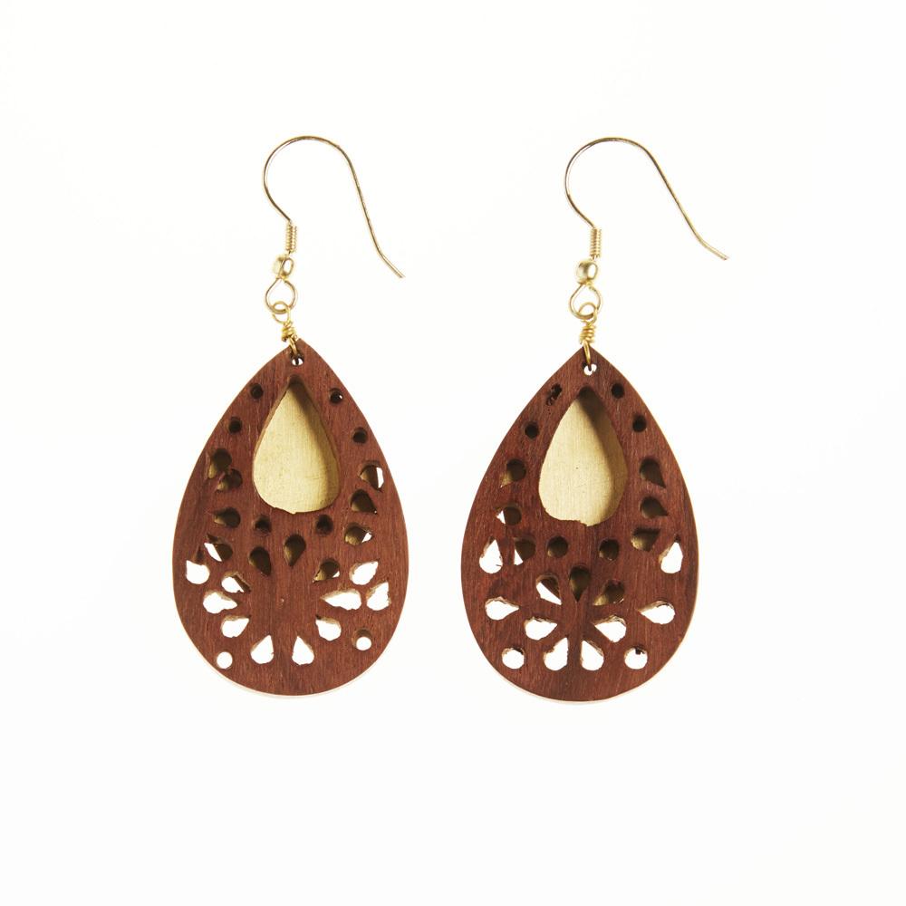 Woodflower Teardrop Earrings