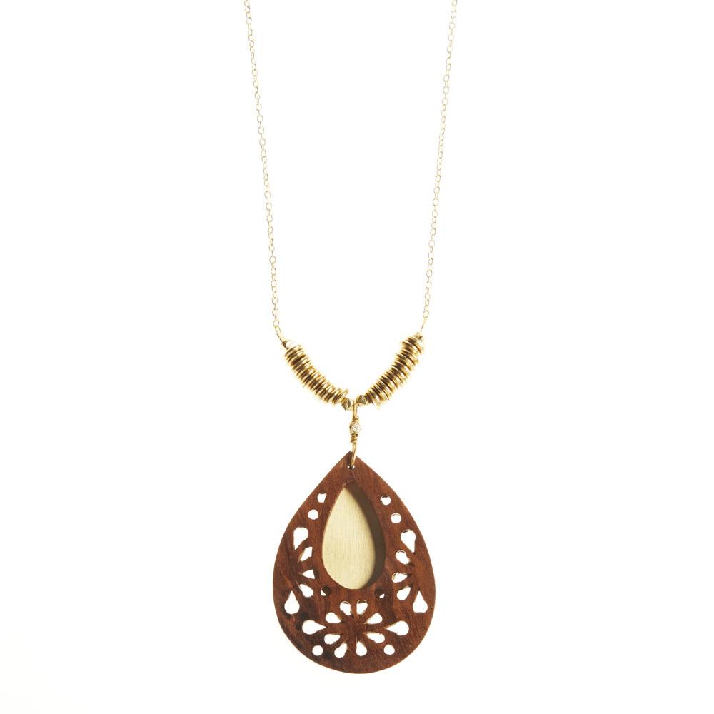 Woodflower Teardrop Pendant Necklace