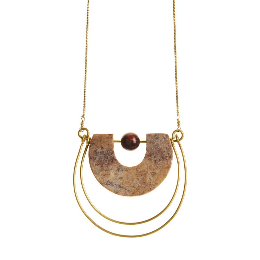 Gorara and Brass Horseshoe Necklace