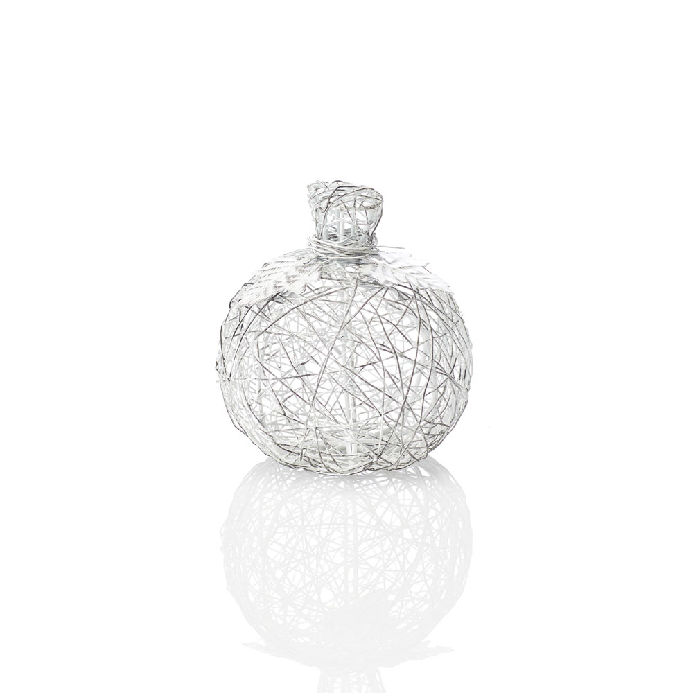 Wire-Wrapped Pumpkin - Small White