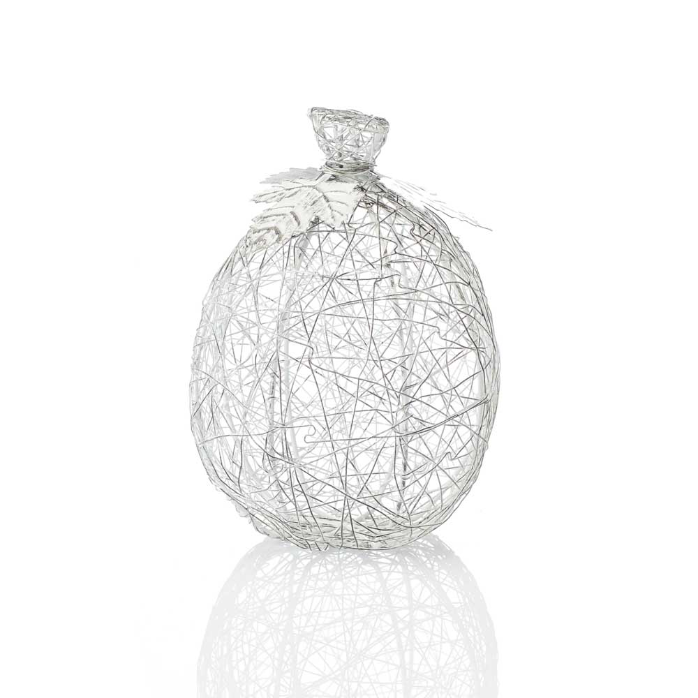 Wire-Wrapped Pumpkin - Tall White