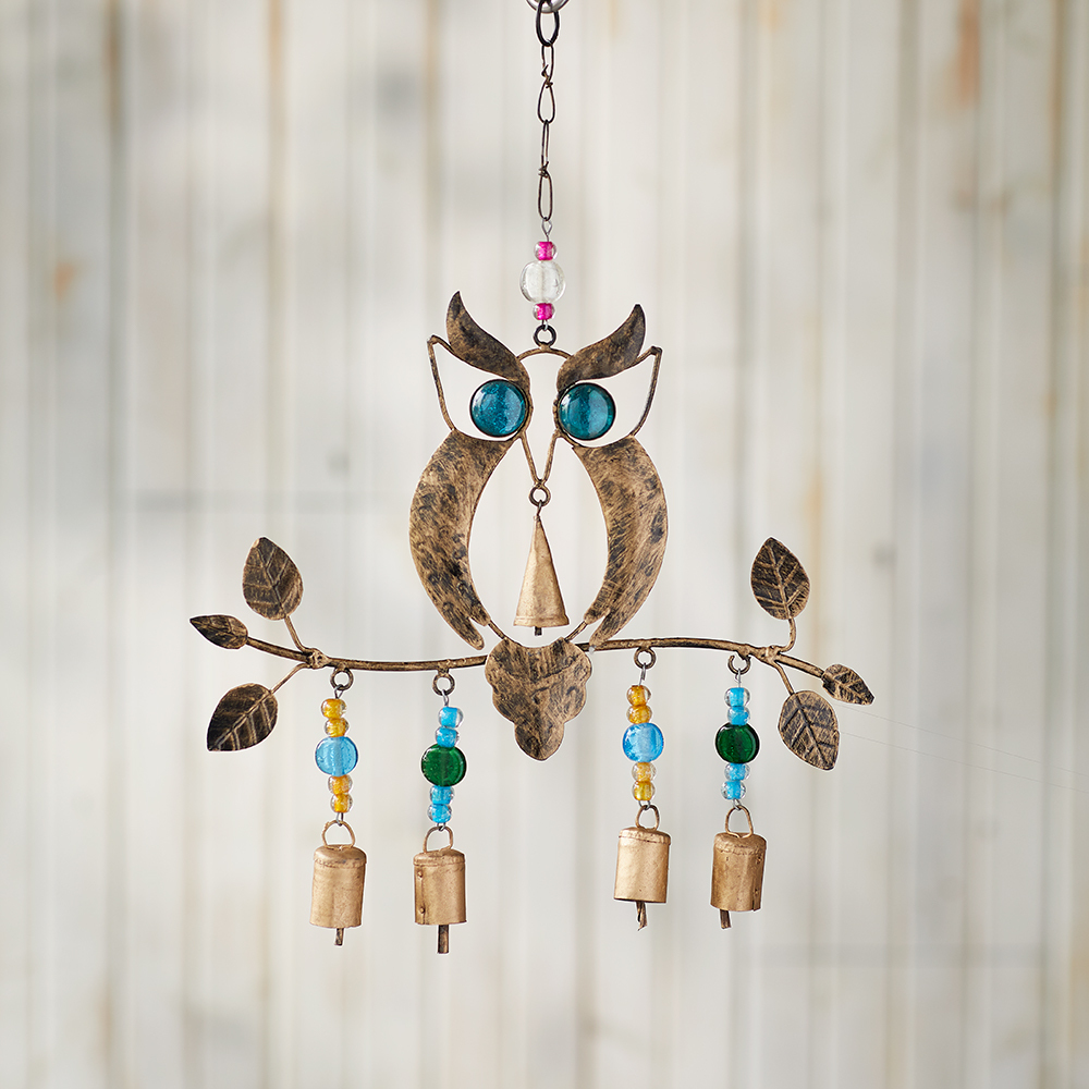 Recycled Owl Chime Wind Chimes Serrv