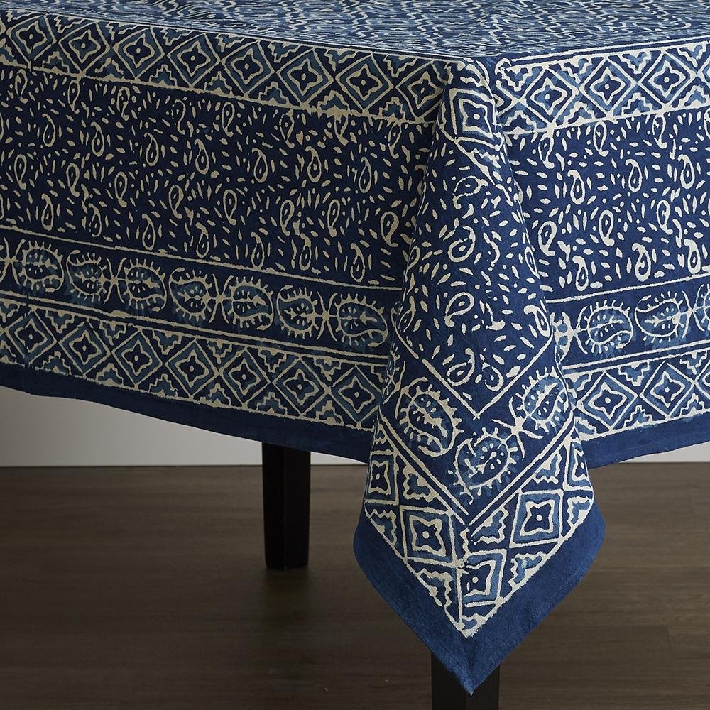 Square Wave Dabu Tablecloth