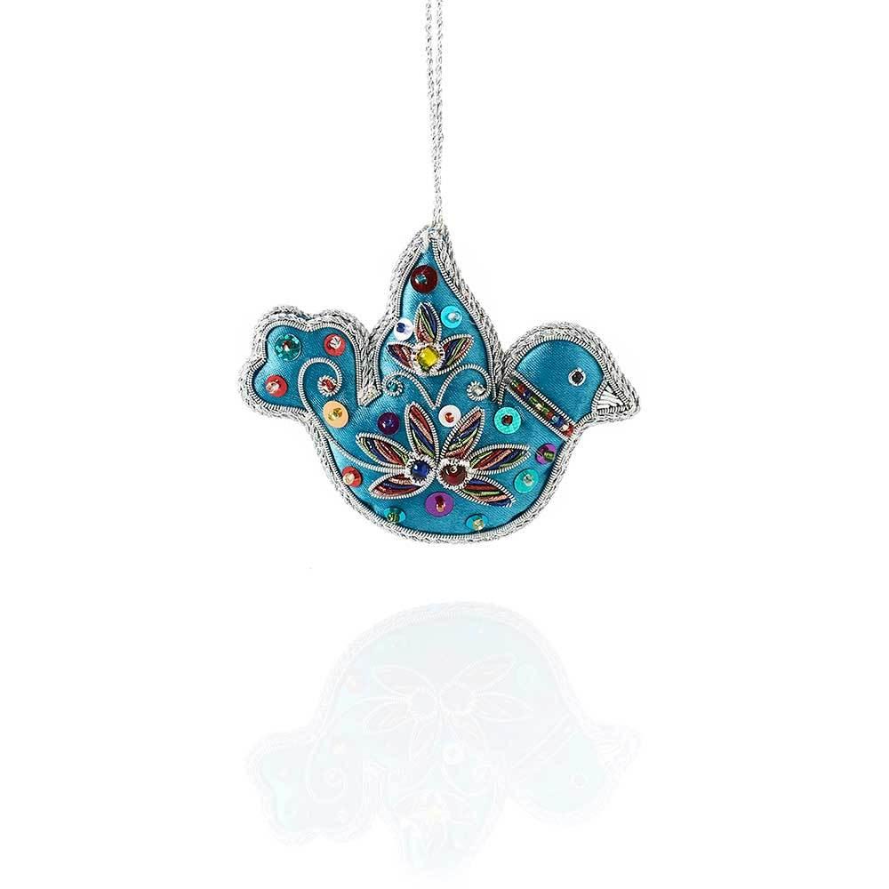 Blue Dove Zari Ornament