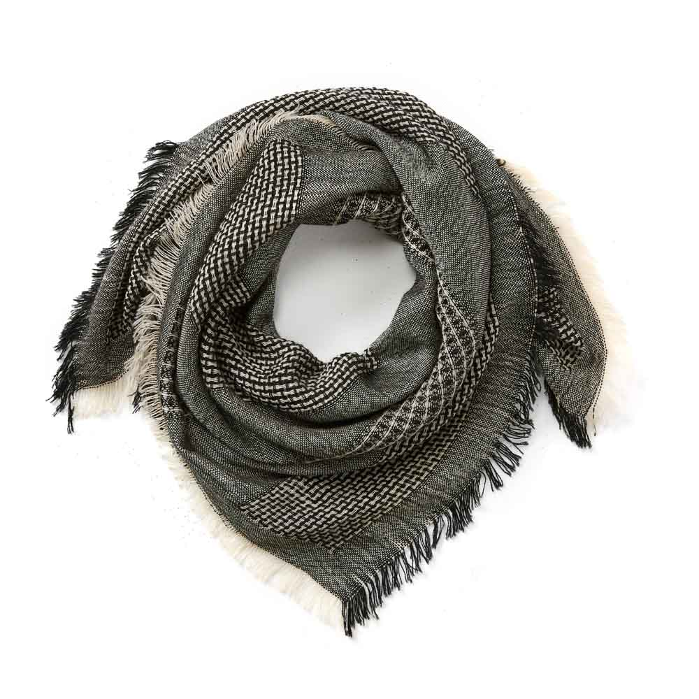 Black & White Square Wool Scarf