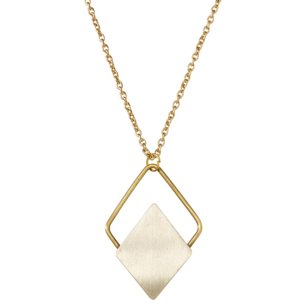 Mixed Metal Diamond Necklace