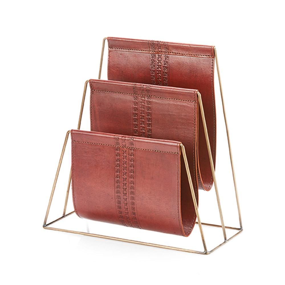 Tarah Leather Magazine Holder