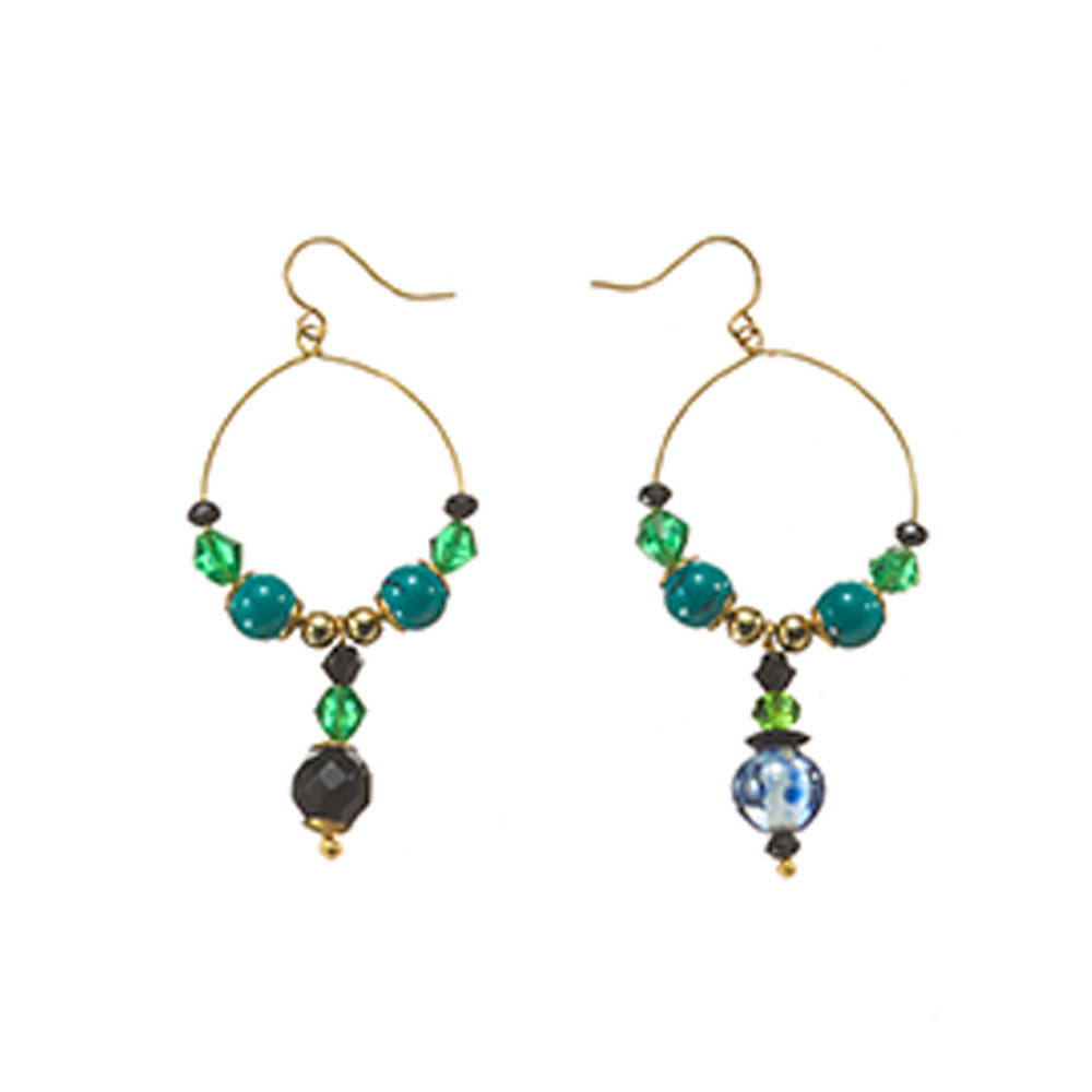 Peacock Makadi Glass Bead Earrings