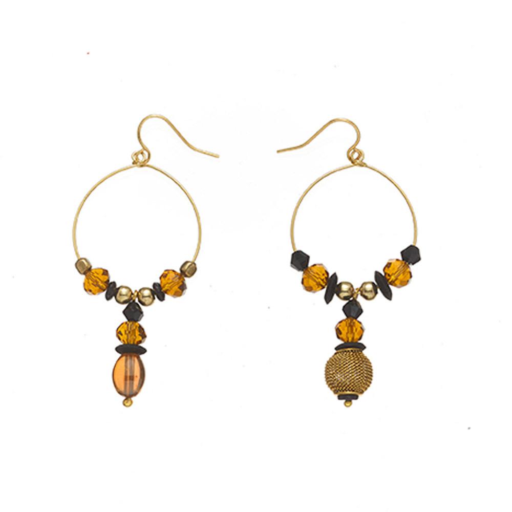 Tiger Eye Makadi Glass Bead Earrings
