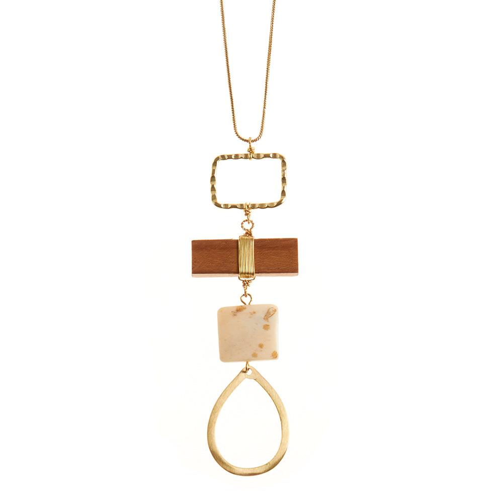 Hollow Brass Teardrop Pendant Necklace