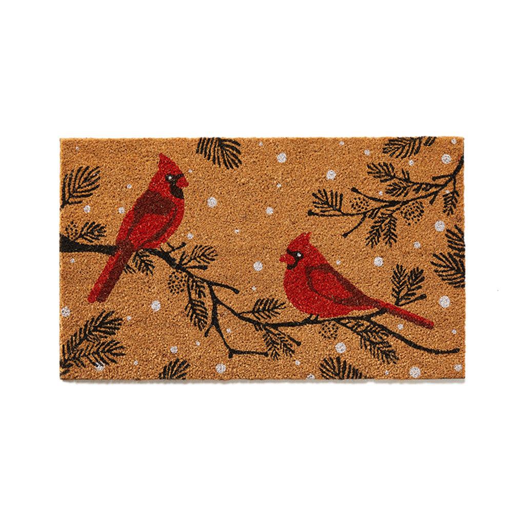 Winter Cardinals Coconut Fiber Mat