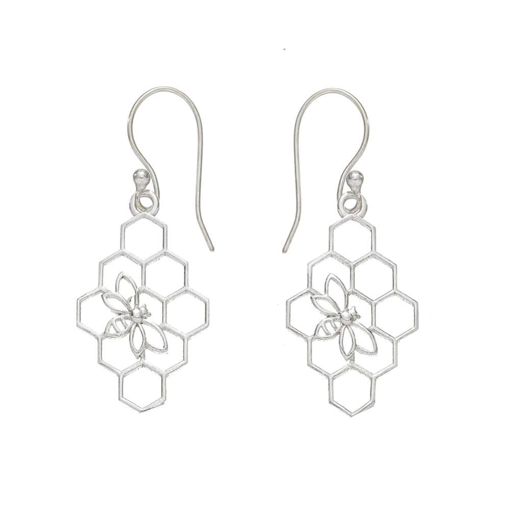 Beehive Silver Earrings