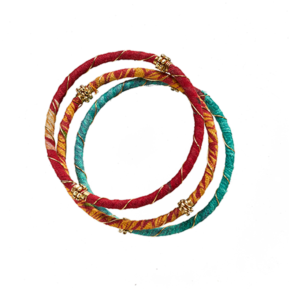 Recycled Sari Wire Wrap Bangles - Set of 3