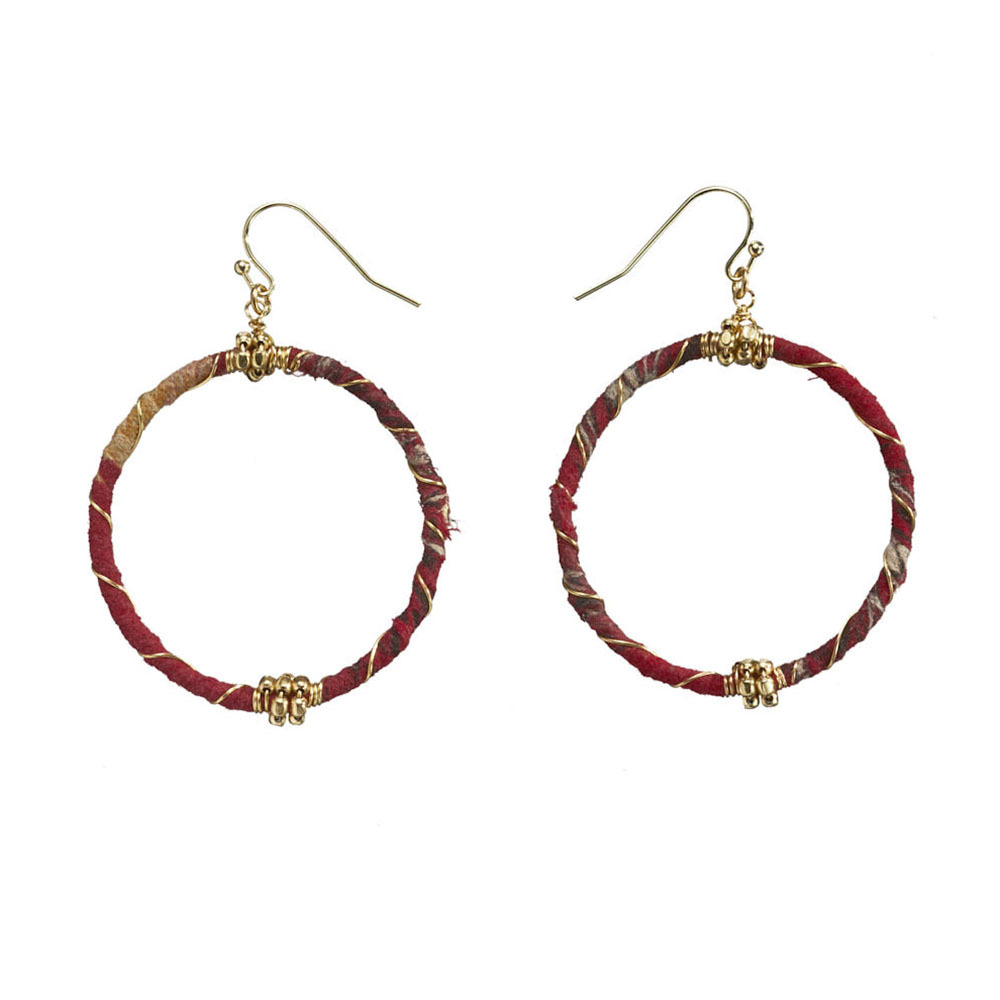Recycled Sari Wire Wrap Earrings