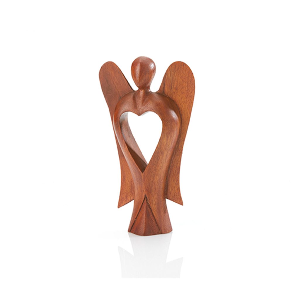 Acacia Carved Heart Angel