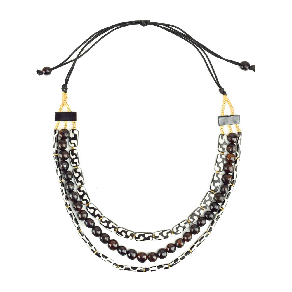 African Batik Triple Strand Necklace