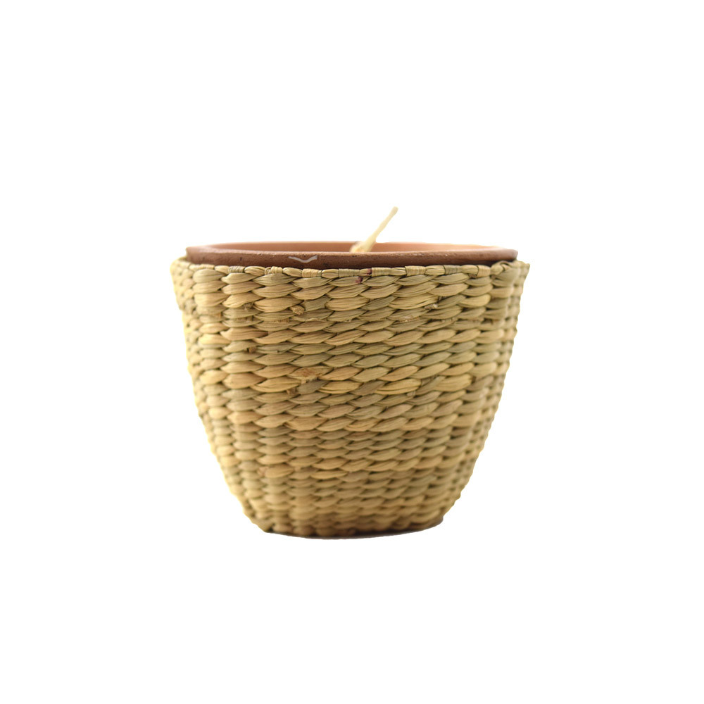 Terracotta Candle in Basket