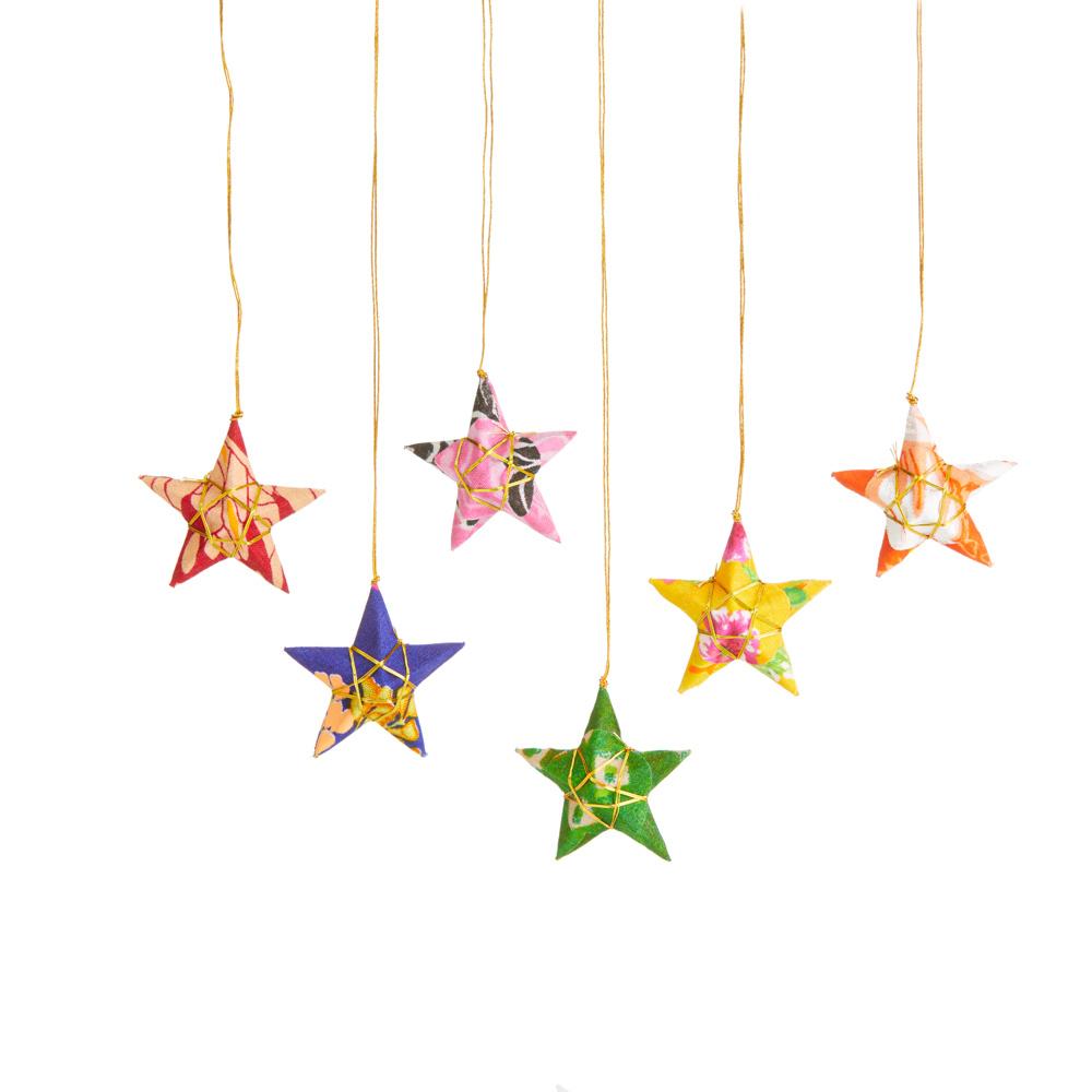 Recycled Sari Star Ornaments - Set of 6