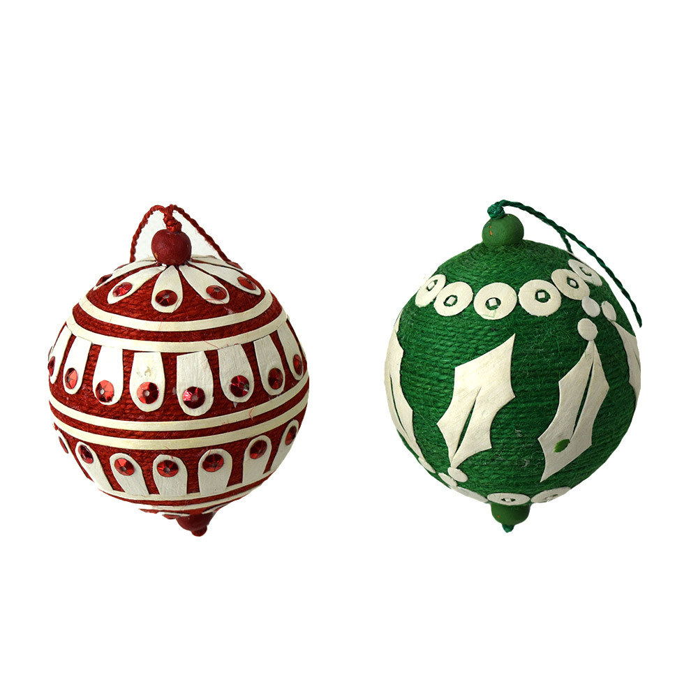 Festive Applique Ornaments Set of 2