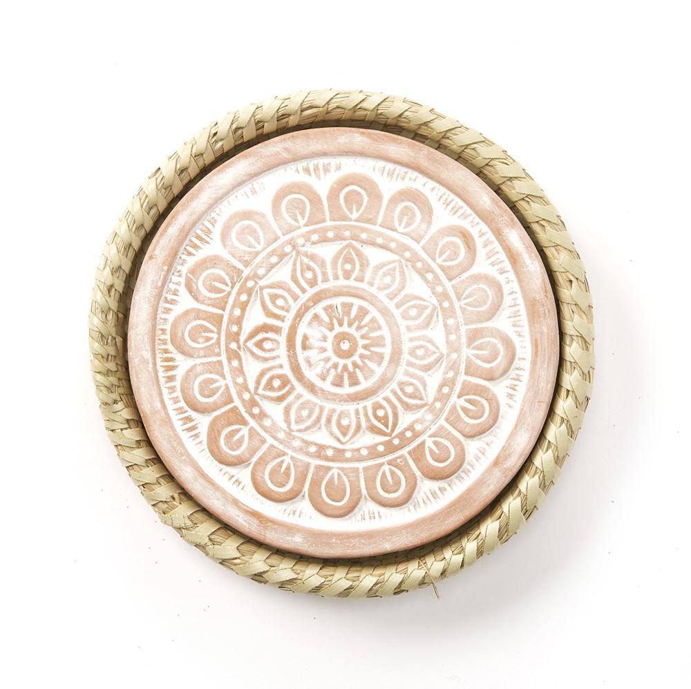 Mandala Warming Trivet with Kaisa Grass Basket