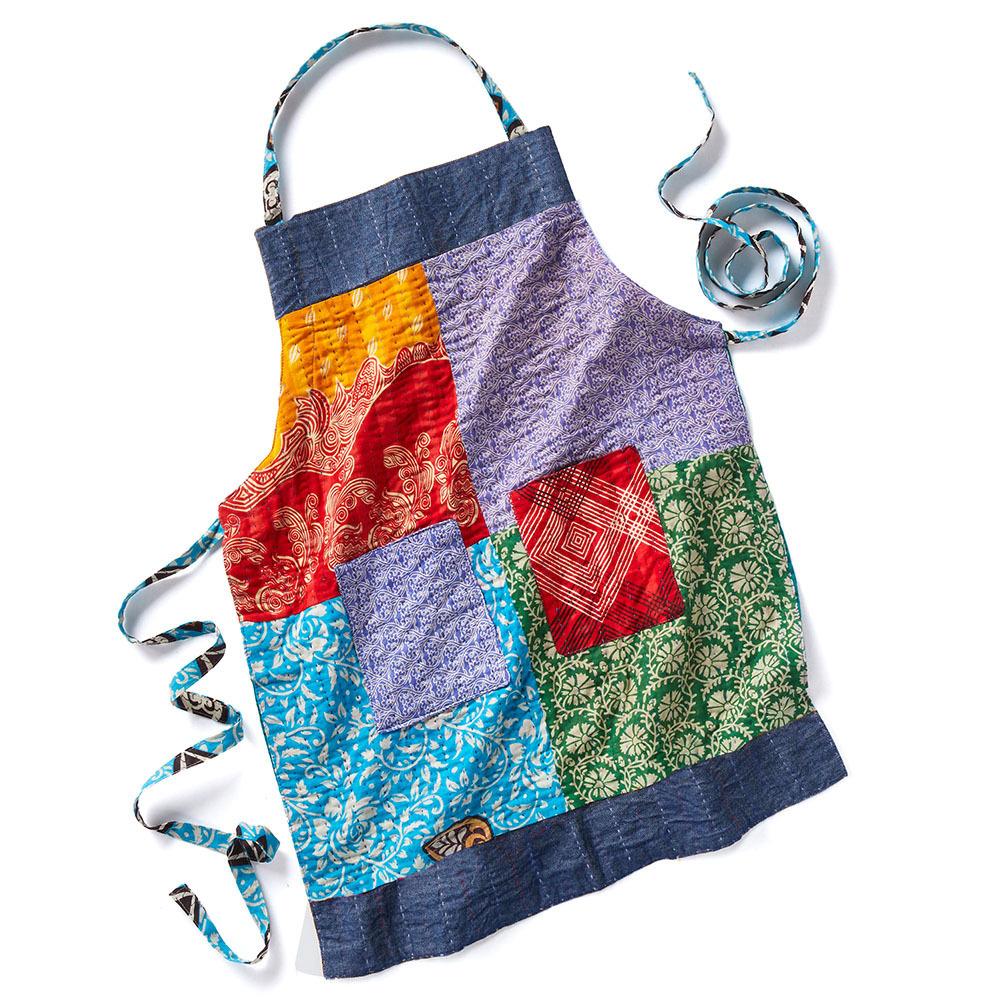 Upcycled Sari & Denim Apron