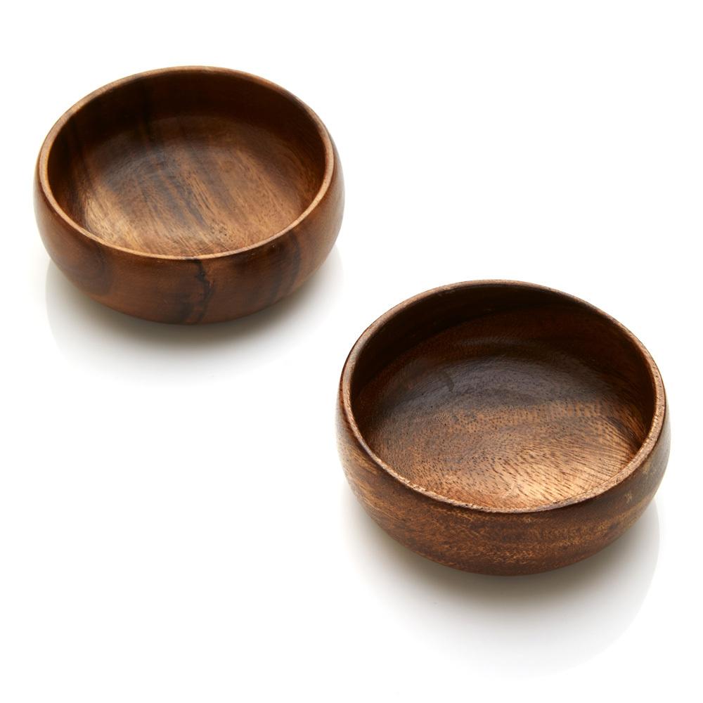 Acacia Wood Small Bowls - Set of 2