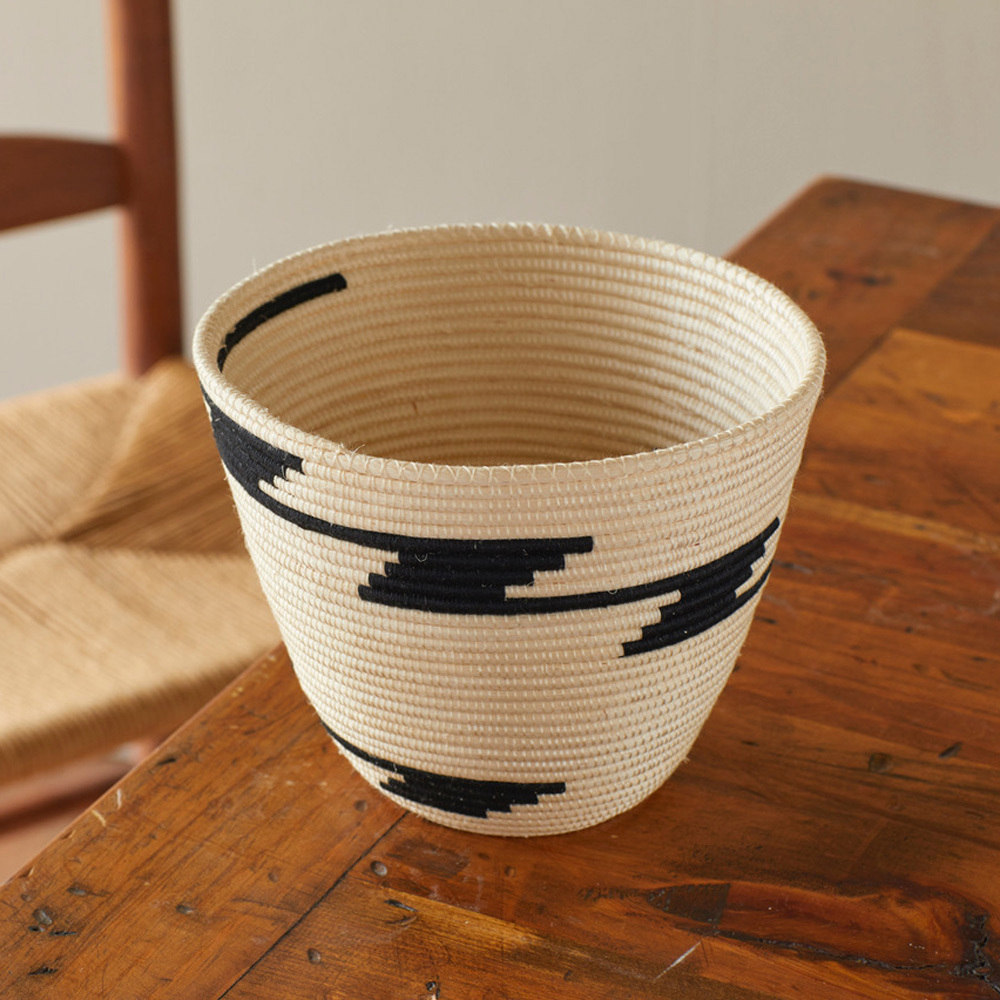 Rwandan Zigzag Steps Basket, Decorative: Serrv International