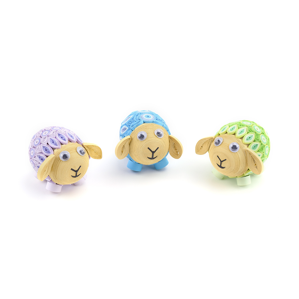 Quilled Pastel Lamb Trio