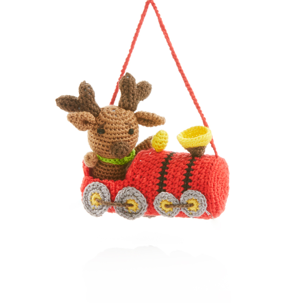 Conductor Moose Crocheted Ornament