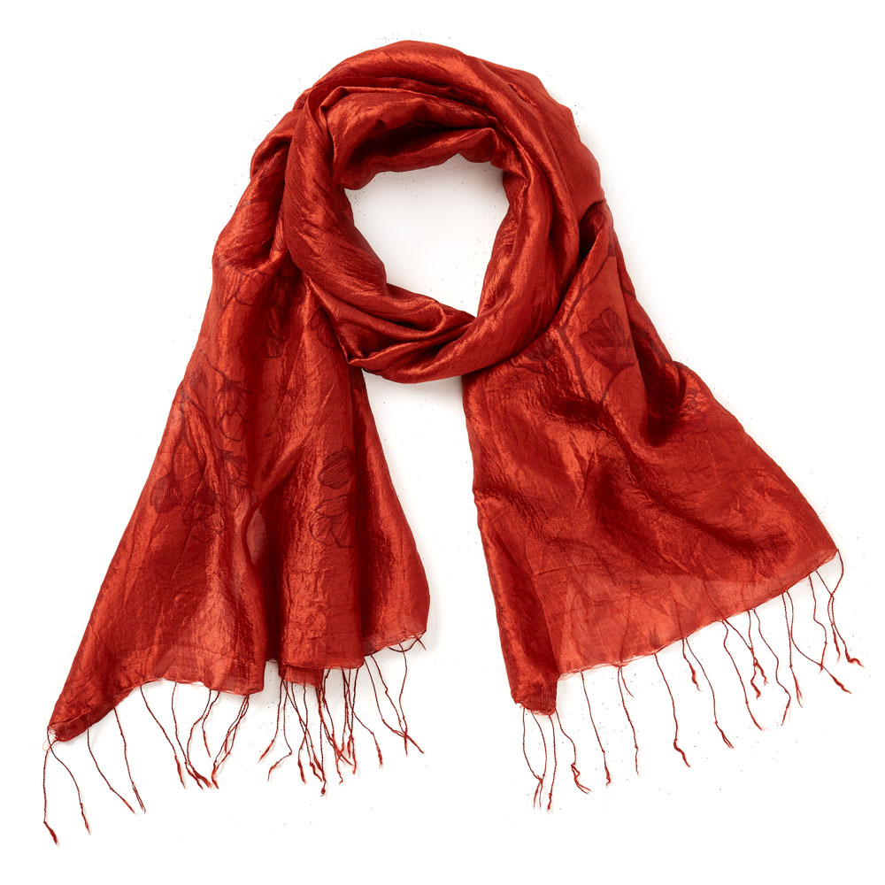 Cinnabar Wildflower Silk Scarf