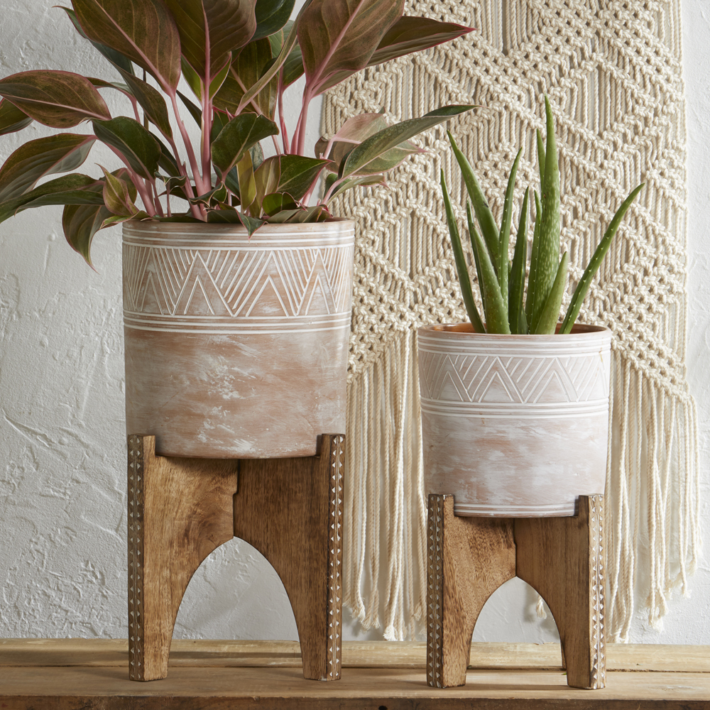 Large Etched Cylinder Planter & Stand