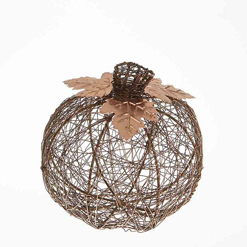 Copper Medium Wire-Wrapped Pumpkin