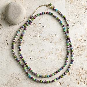 Long Cool Tones Sari Necklace